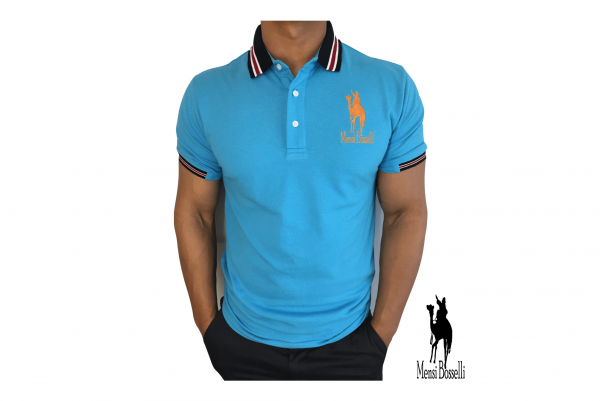 Polo-Shirt in blau - Mensi Bosselli